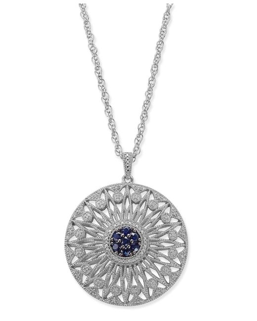 Macy's - Blue Sapphire (1/2 Ct. T.w.) And Diamond (1/7 Ct. T.w.) Openwork Disc Pendant Necklace In Sterling Silver - Lyst