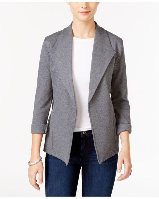 Style & Co. - Gray Open-front Long-sleeve Blazer - Lyst