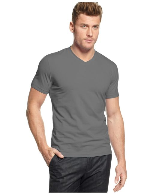 Alfani big and tall stretch v neck t shirt in gray for men for Tall v neck t shirts