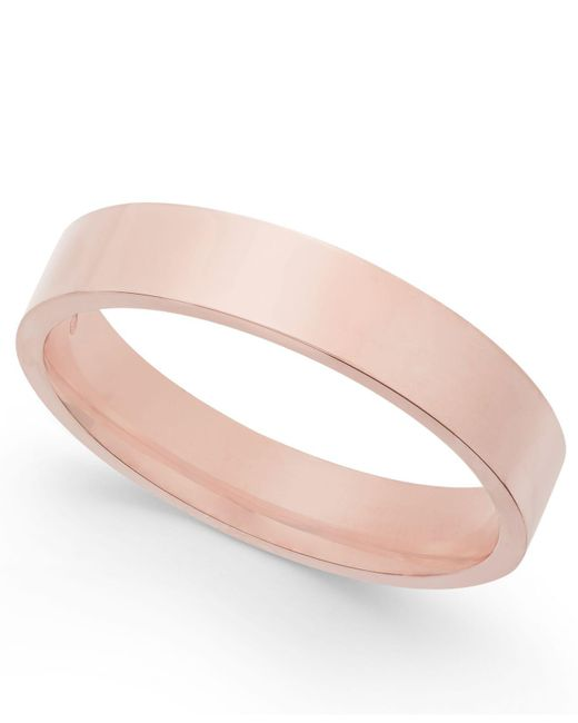 Macy's - Pink Flat-edge Wedding Band In 18k Rose Gold - Lyst