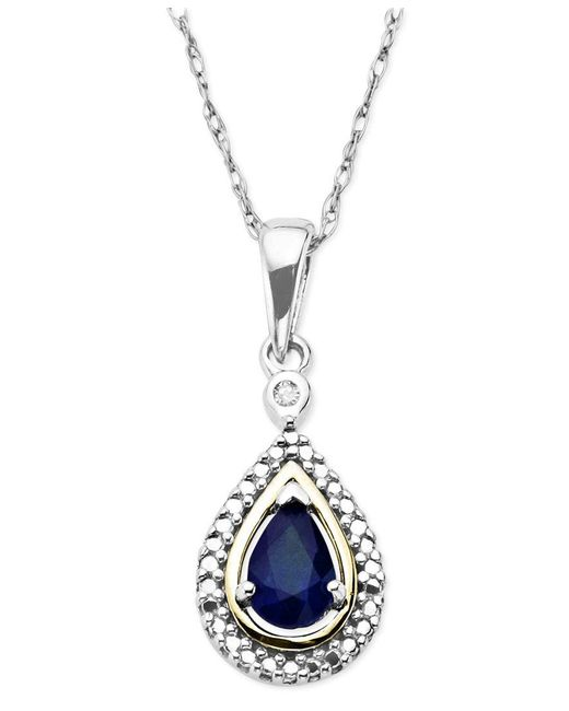 Macy's | Blue Gemstone (1/2 Ct. T.w.) And Diamond Accent Teardrop Pendant Necklace In 14k Gold And Sterling Silver | Lyst