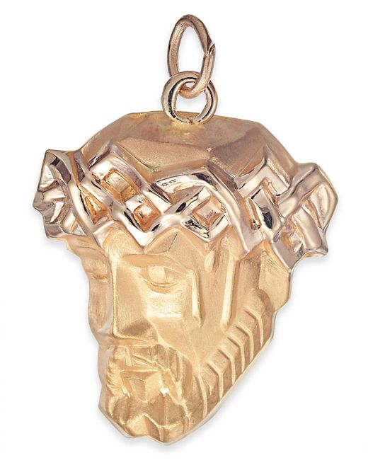 Macy's - Metallic Christ Head Pendant In 14k Gold - Lyst