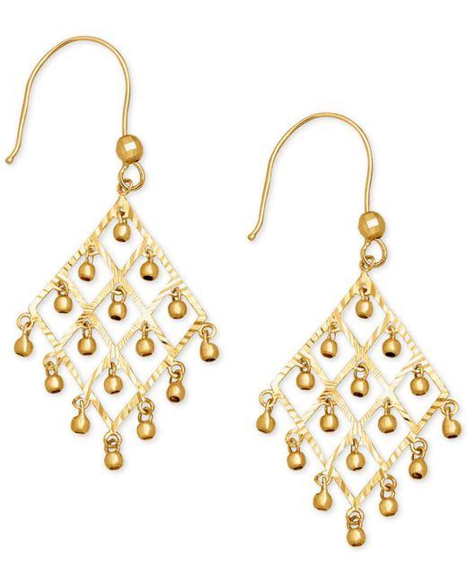 Macy's - Metallic Dangle Bead Chandelier Earrings In 14k Gold - Lyst