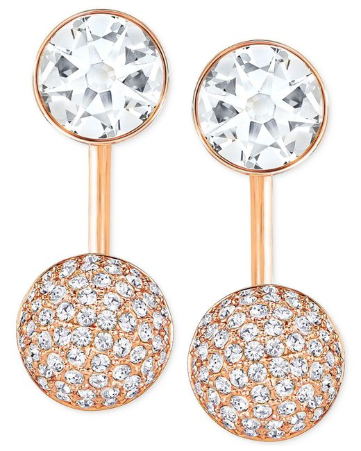 Swarovski - White Crystal And Pavé Earring Jacket Earrings - Lyst