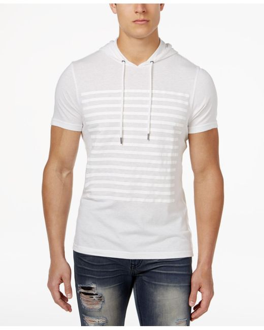 INC International Concepts - White Men's Striped Short-sleeve Hoodie for Men - Lyst