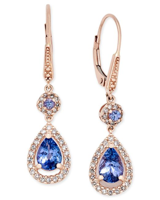 Macy's | Multicolor Tanzanite (1-1/3 Ct. T.w.) And Diamond (1/3 Ct. T.w.) Teardrop Halo Drop Earrings In 14k Rose Gold | Lyst