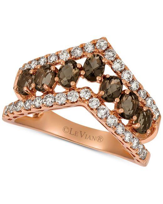 Le Vian - Metallic ® Smoky Quartz (9/10 Ct. T.w.) & Nudetm Diamond (5/8 Ct. T.w.) Chevron Statement Ring In 14k Rose Gold - Lyst