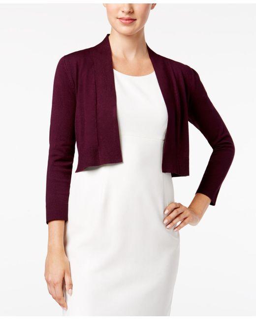 Calvin Klein | Purple Solid Shrug Cardigan | Lyst
