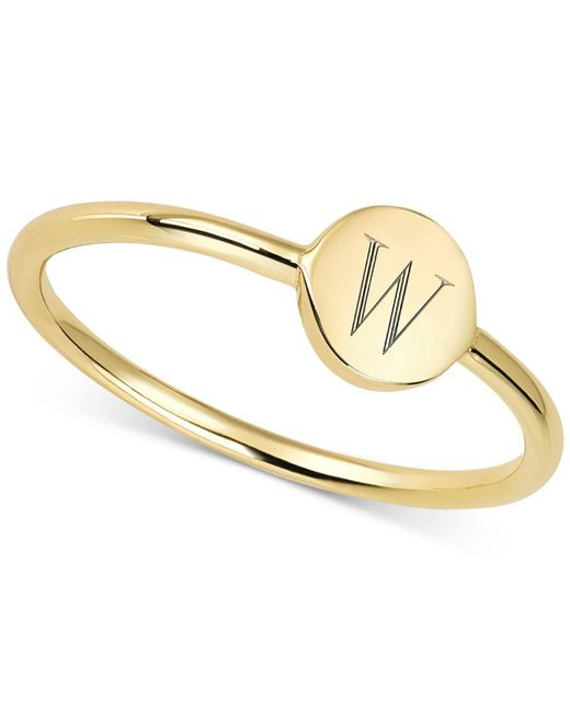 Sarah Chloe - Metallic Engraved Initial Ring In 14k Gold-plated Sterling Silver - Lyst