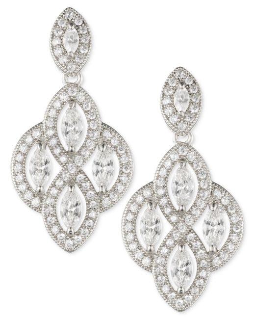 Anne Klein   Metallic Marquise Crystal Drop Earrings   Lyst