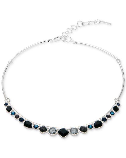 Nine West | Metallic Silver-tone Multi-stone Choker Necklace | Lyst