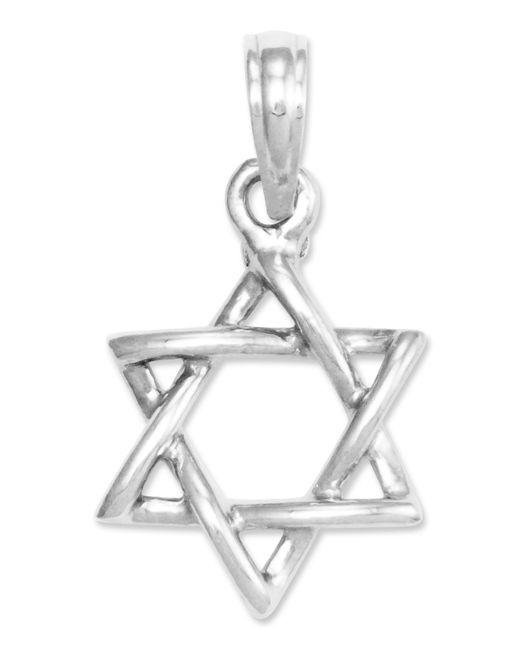 Macy's | Metallic 14k White Gold Charm, 3d Star Of David Charm | Lyst