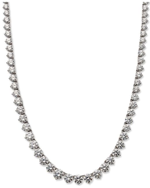 Arabella | Metallic Sterling Silver Necklace, Swarovski Zirconia Necklace (53 Ct. T.w.) | Lyst