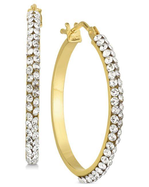 Macy's - Metallic Swarovski Crystal Hoop Earrings In 14k Gold And White Gold - Lyst