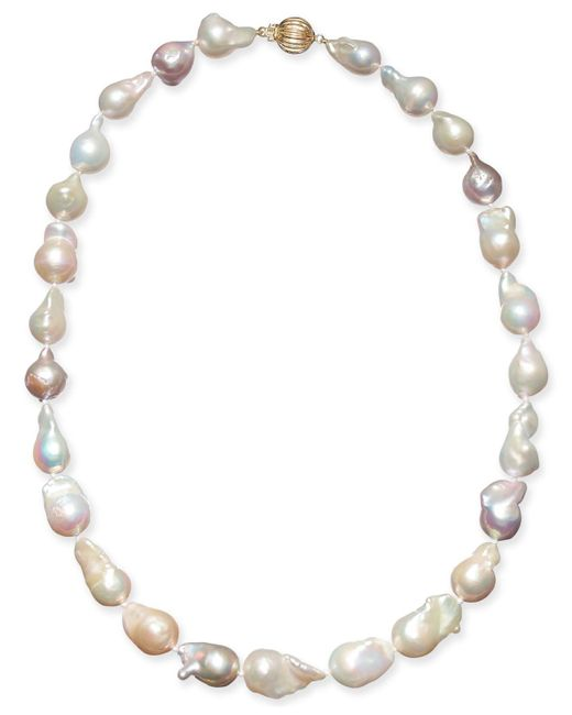 "Macy's - Metallic Multicolor Cultured Baroque Freshwater Pearl (9-11mm) 17"" Collar Necklace - Lyst"