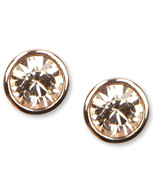 Givenchy | Metallic Earrings, Rose Gold-tone Swarovski Element Stud Earrings | Lyst