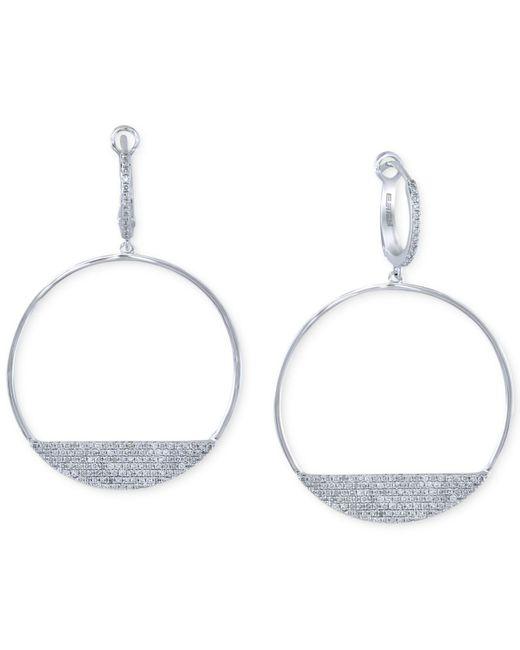 Effy Collection | Diamond Drop Hoop Earrings (3/4 Ct. T.w.) In 14k White Gold | Lyst