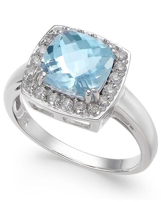 Macy's | Multicolor Aquamarine (2 Ct. T.w.) & Diamond (1/3 Ct. T.w.) Ring In 14k White Gold | Lyst