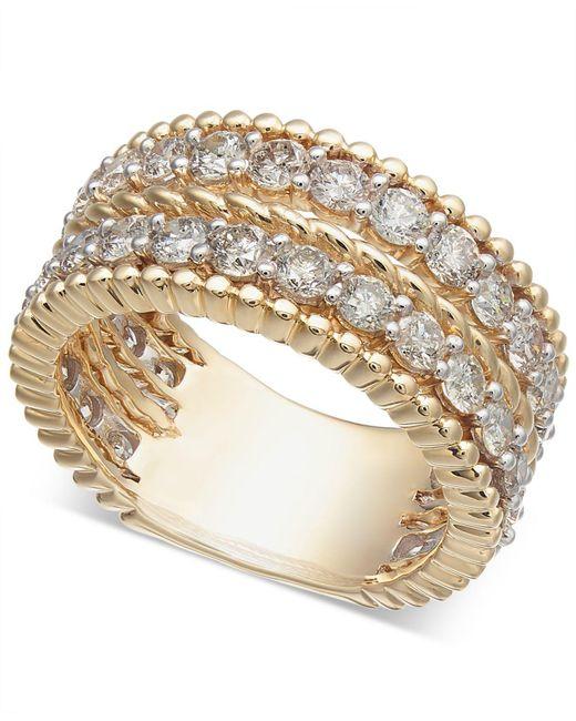 Macy's - Metallic Diamond Rope-style Two-row Statement Ring (2-1/2 Ct. T.w.) - Lyst