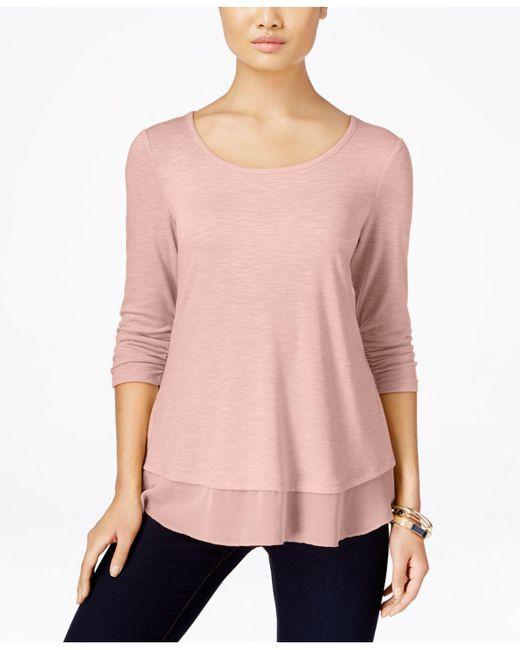 Style & Co. - Pink Chiffon-hem Three-quarter-sleeve Top - Lyst