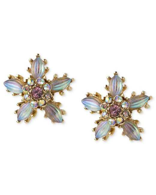 Betsey Johnson - Metallic Antique Gold-tone Crystal Flower Stud Earrings - Lyst