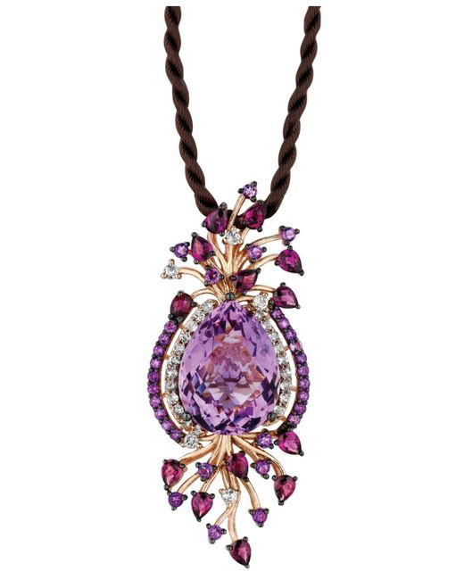 Le Vian | Purple Multistone Cord Pendant Necklace In 14k Strawberry Rose Gold (18 Ct. T.w.) | Lyst