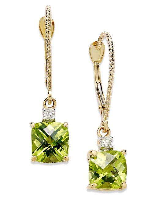 Macy's   Metallic 14k Gold Earrings, Peridot (2-1/5 Ct. T.w.) And Diamond Accent Long Drop Square Earrings   Lyst