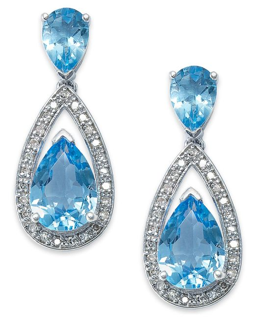 Macy's | Metallic Sterling Silver Earrings, Blue Topaz (6-1/2 Ct. T.w.) And Diamond (1/5 Ct. T.w.) Pear Drop Earrings | Lyst