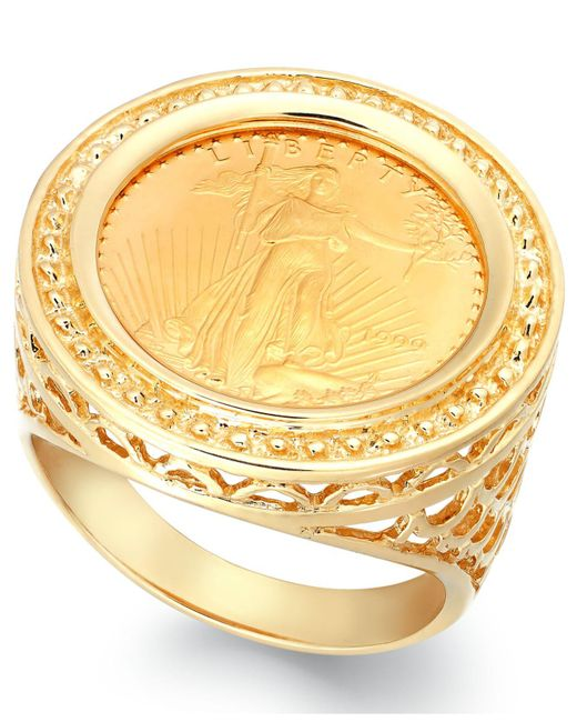 Macy's - Metallic Genuine Us Eagle Coin Ring In 22k And 14k Gold - Lyst