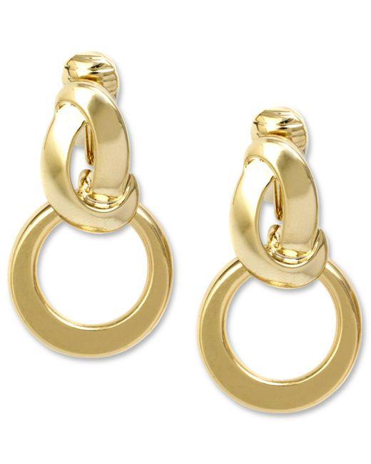 Anne Klein | Metallic Earrings, Silver-tone Twisted Hoop Clip On Earrings | Lyst