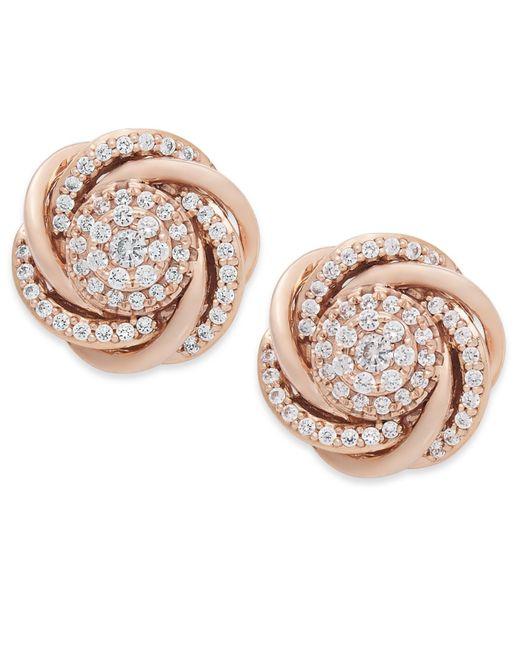 Wrapped in Love | Metallic Diamond Earrings, 14k Rose Gold Pave Diamond Knot Earrings (3/4 Ct. T.w.) | Lyst