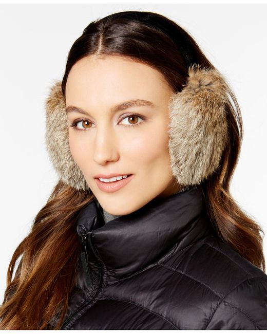 Surell - Black Velvet Band Rabbit Fur Earmuffs - Lyst