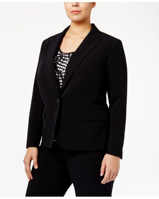 Anne Klein   Black Plus Size One-button Blazer   Lyst