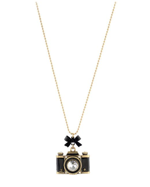 Betsey Johnson - Metallic Gold-tone Camera Pendant Necklace - Lyst