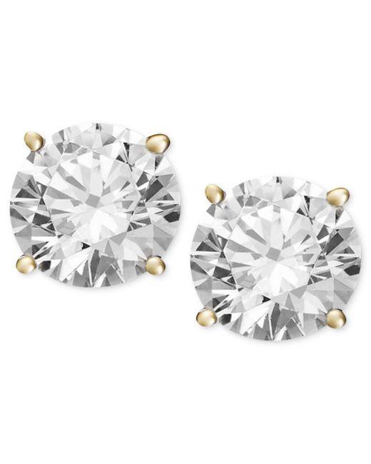Macy's - Metallic Diamond Stud Earrings (1/2 Ct. T.w.) In 14k White Or Yellow Gold - Lyst