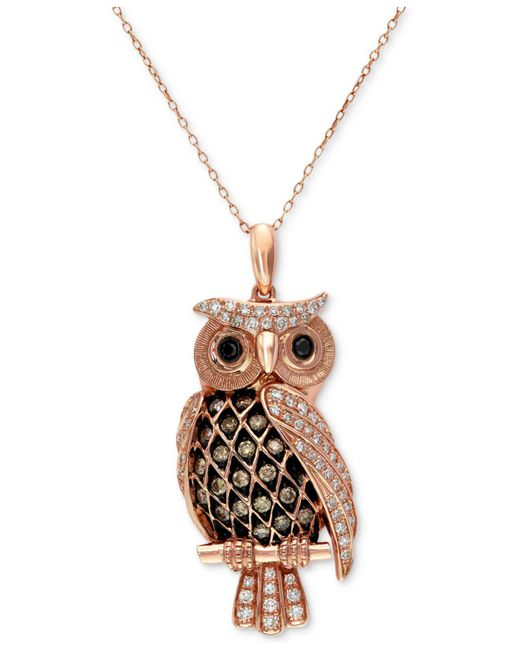 Effy Collection - Metallic White And Brown Diamond Owl Pendant Necklace (1/2 Ct. T.w.) In 14k Rose Gold - Lyst