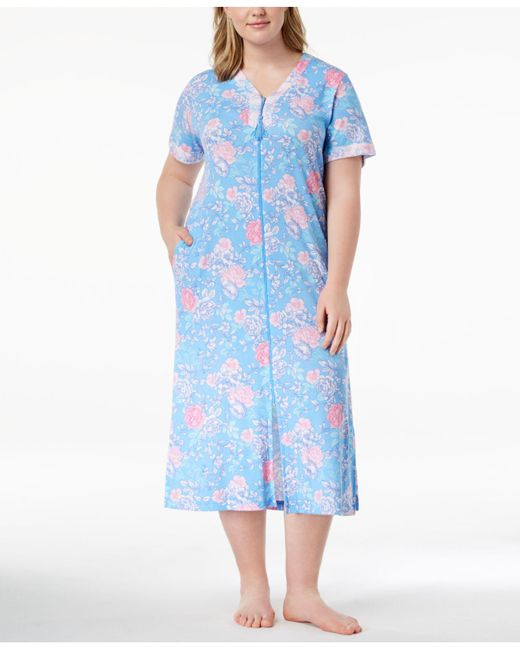 Miss Elaine - Blue Plus Size Rose-print Knit Robe - Lyst