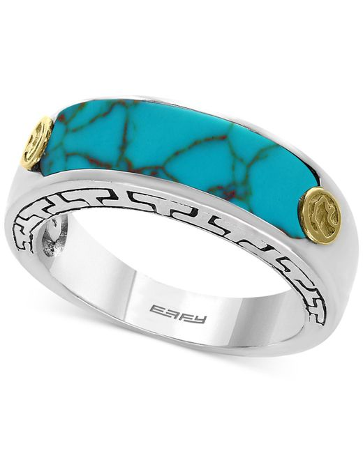 Effy Collection - Metallic Men's Manufactured Turquoise Ring (20 X 6mm) In Sterling Silver And 18k Gold-plate - Lyst