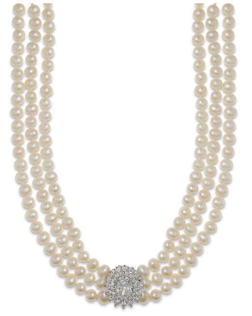 Arabella | Metallic Cultured Freshwater Pearl (5mm) And Swarovski Zirconia Necklace In Sterling Silver | Lyst