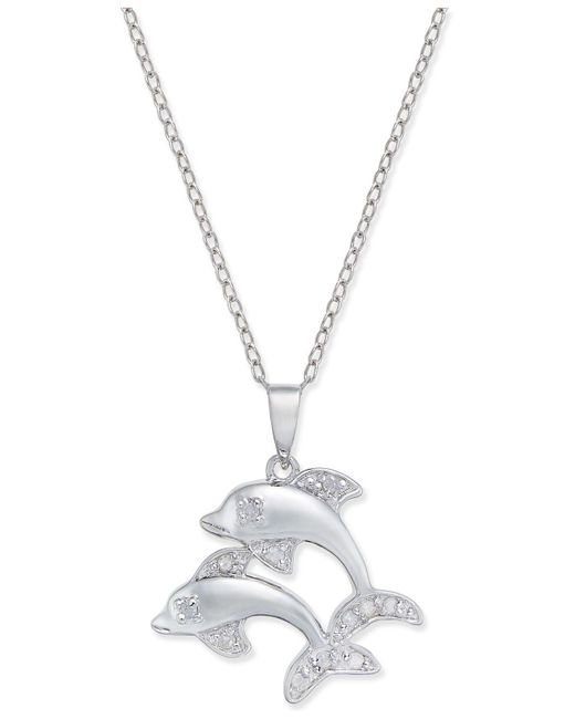 Macy's - Metallic Diamond Dolphin Pendant Necklace (1/10 Ct. T.w.) In Sterling Silver - Lyst