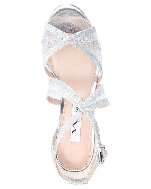 a7be5ba3b0a ... Nina - Metallic Fenna Platform Evening Sandals - Lyst ...