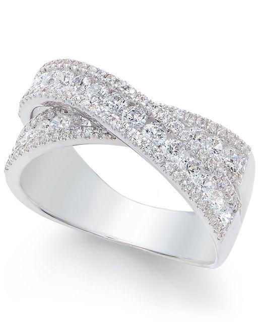 Arabella - Metallic Swarovski Zirconia Crisscross Statement Ring In Sterling Silver - Lyst