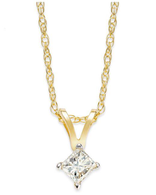 Macy's   Metallic Princess-cut Diamond Pendant Necklace In 10k Gold (1/6 Ct. T.w.)   Lyst