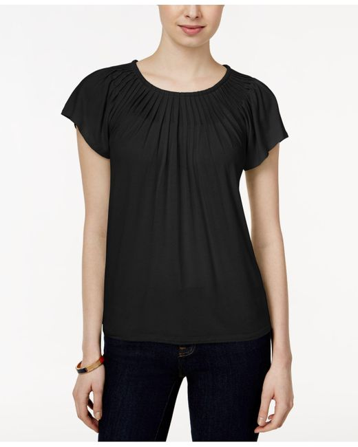 Style & Co. - Black Pleated-neck Top - Lyst