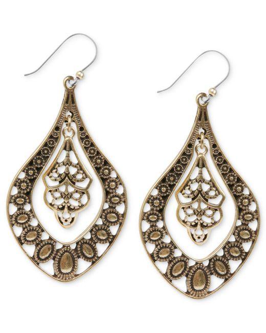 Lucky Brand - Metallic Earrings, Silver-tone Filigree Oblong Earrings - Lyst