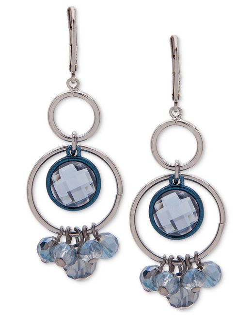 Anne Klein | Blue Two-tone Stone & Shaky Bead Orbital Chandelier Earrings | Lyst
