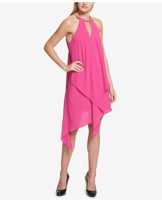 Kensie - Pink Draped Snake-chain Keyhole Dress - Lyst