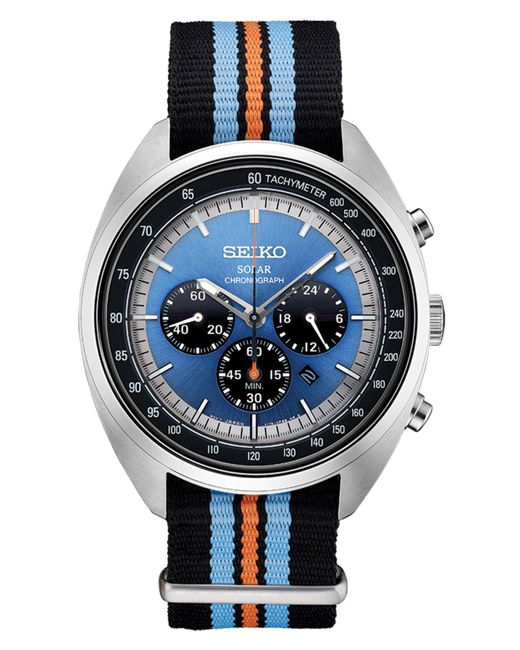Seiko - Men's Solar Chronograph Recraft Series Black, Orange & Blue Nylon Strap Watch 43.5mm for Men - Lyst
