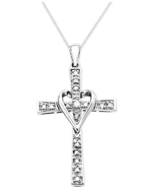 Macy's | White Cross Diamond Pendant Necklace In 14k Gold (1/10 Ct. T.w.) | Lyst