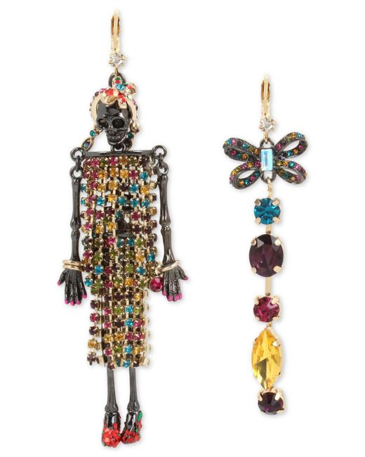 Betsey Johnson | Multicolor Two-tone Multi-stone Skeleton & Bow Mismatch Earrings | Lyst
